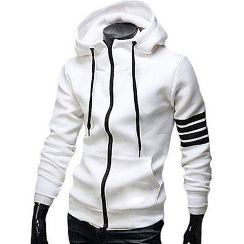 cc25342bd Mens White Zip Hoodie