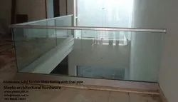 Aluminium Solid Section Glass Railing, For Residential And Commercial