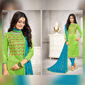 Party Wear Multicolored Owomaniya Banarasi Silk Dress Materials With Banarasi Silk Dupatta