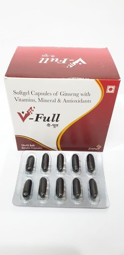 V-FULL CAPS Ginseng Multivitamin And Multiminerals Softgel Capsules, Packaging: 10*10