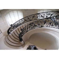 Mild Steel Black Floral Design Staircases Railings