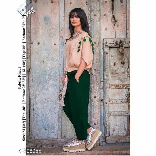 Plain Green Ladies Casual Tie Khadi Western Dress