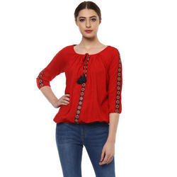 Cotton Round Neck Red Casual Ladies Top