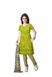 Mahendi And Grey Color Fancy Design Gaji Silk Bandhani Suit