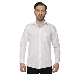 Cotton/Linen Inspire Slim Fit Casual Shirts For Men (White)