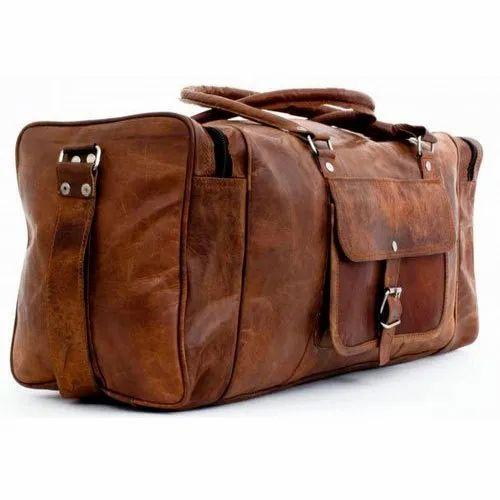Brown Plain Leather Travel Bag