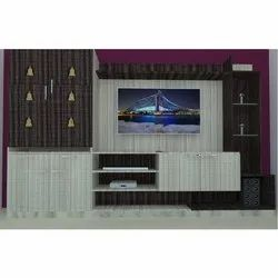 White and Brown Pvc TV Showcase with Pooja Unit, for Home