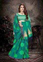Stylish Teal Green Saree