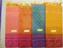 Cotton Fancy Embose Sarees With Running Blouse