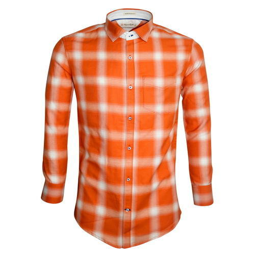 3d061a26 Blazerbob Men's Casual Orange & White Formal Checks Shirt, Rs 580 ...