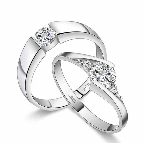 3a7f7269b Zevrr Sterling Silver Swarovski Crystal Platinum Plated Couple Rings ...