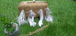 Feather Embellishment Clutch Bag