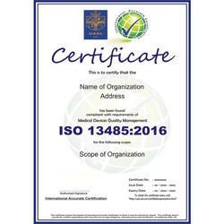 ISO 13485:2016 Certification Consultancy Service