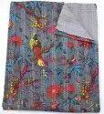Printed Queen Kantha Bedspread