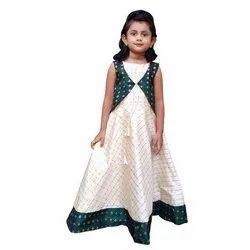 Party Wear Stitch Kids Printed Silk Gown