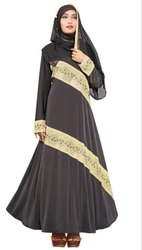 Women's Stone Work Lycra Abaya Burqa With Dupatta