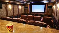 Living Room Interior Home Theater Designing, Work Provided: Wood Work & Furniture