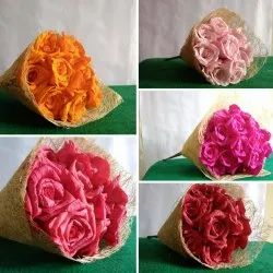 Red(Maroon) Handcarfted Paper Rose Bouquet, Don't Wash