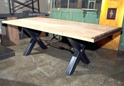 Powder Coated Iron Cross Dining Table, for Restaurant