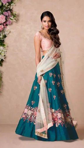 fe6f43e949 Zeel Clothing Floral Embroidered Banglore Silk Teal Blue Girls Lehenga Choli