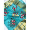 Ladies Blue Party Wear Embroidered Saree