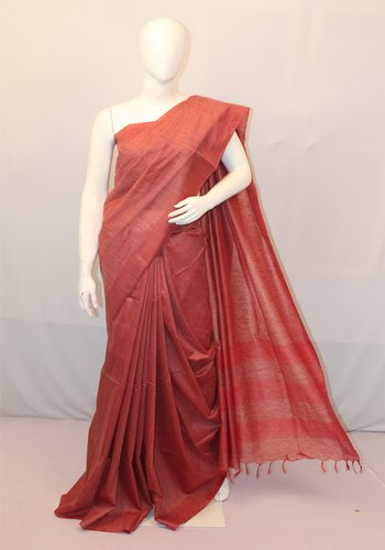Casual Wear Jute with Raw Cotton Sarees with Running Blouse