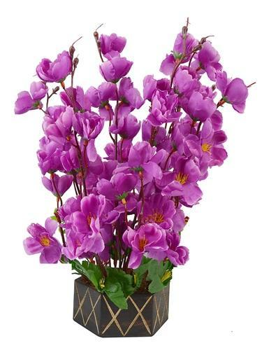 Artificial Purple Orchid Flower With Wooden Pot 17 Inch