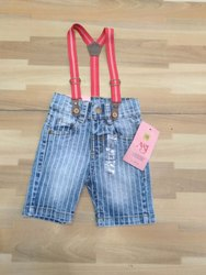 Kids Stripe Print Denim Dungarees