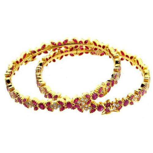 Design Ruby And Real Diamonds Bangles at Rs pair