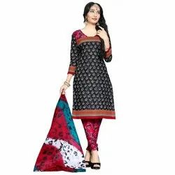 Rajnandini Black Cotton Printed Unstitched Dress Material
