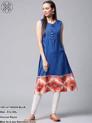Blue Tie & Dye Sleeveless Kurta