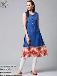 Blue Tie & Dye Sleeveless Kurta