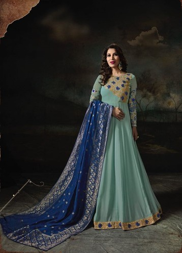 0291739835 Georgette Semi-Stitched Banaras Dupatta Anarkali Suit, Rs 2395 ...
