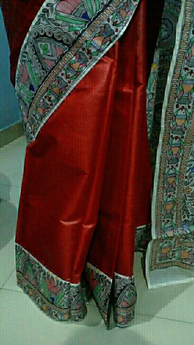 Red With White Border Silk Mithila Painting Saree