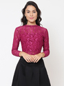 Martini Lace Full Sleeve Wine Color Crop Top