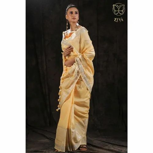 5.5 Metres Plain Solid Dyed Heavily Weaved Zari Border Linen Saree