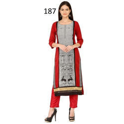 Round Neck Casual Wear crepe Kurti