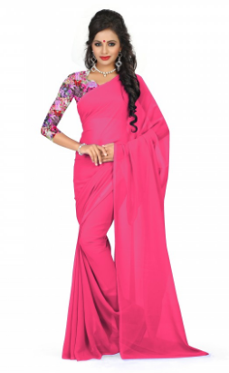 37fd10bfbcbd01 Contrast Blouse With Pink Saree & Contrast Blouse With Sky Blue Saree  Retailer from Delhi