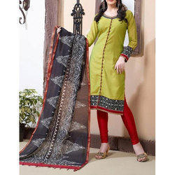 Green and Black Casual Wear Ladies Cotton Suit