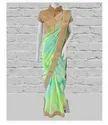 Green - Blue Pure Chiffon Saree, Size: Free