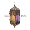 Hanging Moroccon Lantern Multi Color Glass