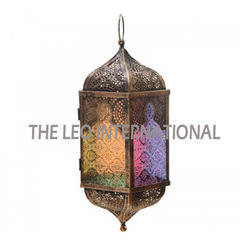Hanging Moroccon Lantern Multi Color Glass