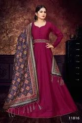 Designer Silk Gown With Fancy Printed Dupatta By Parvati Fabric
