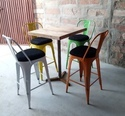 Green Black Orange Iron Tolix Style Metal Industrial Type Bar Chair With Bar Table, Size: W30xd30xh42 Inch