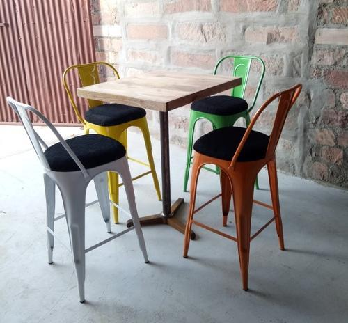 Kdce Black And Natural Tolix Style Metal Industrial Type Bar Chair With Bar  Table