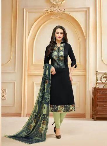 dfcbab7d45 Exclusive Party Wear Black Glaze Cotton Churidar Suit With Maslin Digital  Print Dupatta