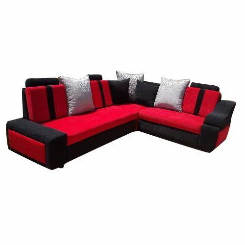 Black, Red Corner Sofa Set, Rs 24000 /unit, Woodlines Furniture | ID ...