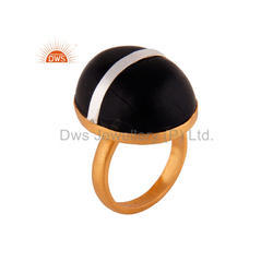 Wood Stone Gold Plated Silver Ring