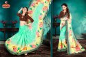 Printed Georgette Heavy Embroidery work Saree & Blouse with Lace - UPHAR