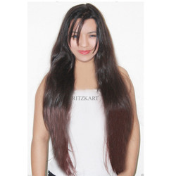 25 Inch Maroon Black Mix Straight Hair Extension